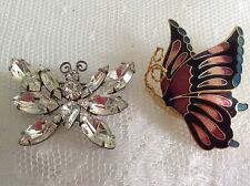 Two Beautiful Butterfly Brooch Vintage Rhinestone Cloisonné Enamel