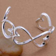 New Infinity Heart 925 Sterling Silver Bangle Fashion Jewelry FREE SHIPPING