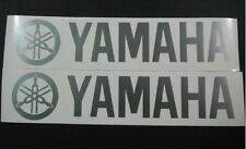 Silver Yamaha pair vinyl cut sticker / decals. for outboards, bikes 370mm X 80mm