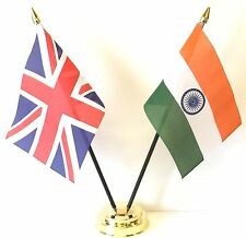 United Kingdom & India Double Friendship Table Flag Set