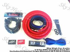 Oversized 1/0 Ga OFC AWG Amp Kit Triple Shielded RCA Red Black Complete Sky High