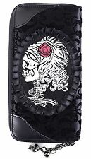 Gothic Flocked Ivy Cameo Skull Elegant Wallet Purse by Banned Black Rockabilly
