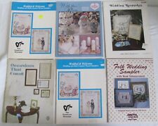 LOT OF 6 CROSS STITCH BOOKLETS FEATURING WEDDING TYPE SAMPLERS