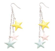 Pastel Radiant Pale Triple Star Drop Silver Earrings Clustered Chic Design(Zx80)