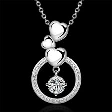 Fashion Heart 925 Sterling Silver Plated Zircon Pendant Necklace Chain Jewelry