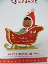 Baby's First Christmas African American Baby in Red Sleigh HALLMARK 2015 NEW