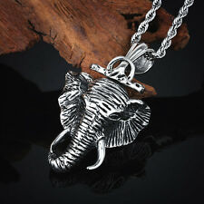 Casting Stainless Steel Elephant Head Pendant Free Rope Necklace Chain