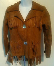 70s Pioneer Wear Suede Leather Fringed Jacket Size Small Women's Albuquerque NM