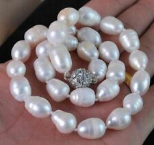 Big 10-12MM Natural white akoya cultured pearl necklace Magnet Clasp 18""