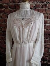 c1880 Gibson Girl Victorian Wedding Gown Dress Handmade Lace