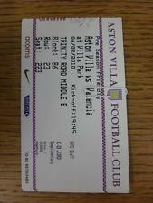 06/08/2010 Ticket: Aston Villa v Valencia [Friendly] . This item is in very good