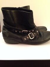 "DISNEY ""SHAKE IT UP"" Boots Size 5 Black With Metal Stud Strap And Buckle."
