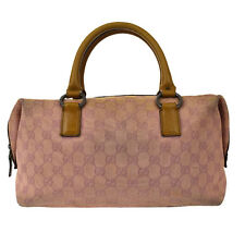Authentic GUCCI GG Pattern Hand Bag Canvas Leather Pink Made In Italy 03Z170