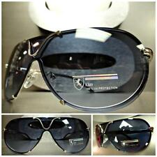 Men Women MODERN SHIELD AVIATOR Style SUN GLASSES Silver & Black Frame Blue Lens
