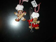 KURT ADLER CHRISTMAS GINGERBREAD BOY & GIRL BAKERS W/TOOLS-NEW-SET OF 2