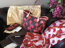 AUTH LOUIS VUITTON NEVERFULL RAMAGES MM BAG & ZIPPY WALLET & SCARF RECEIPT