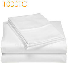 1000TC Egyptian Cotton Double Size Bed Sheet Set(Flat,Fitted,Pillowcases) White