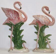 "Pair of Fritz & Floyd Vintage Mid-Century Ceramic Pink Flamingo Statues 22""/20"""