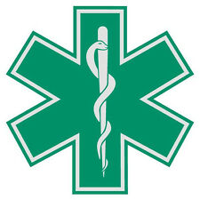 "Green Star of Life 3"" Die Cut Reflective Emergency Medical EMT Decal w/Border"