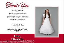10 Personalised Communion or Confirmation Thank You Cards Girl Photo 1