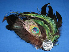Sexy Peacock Feather Hair Ornament Pin Brooch Bridal Gatsby Flapper Clip NEW