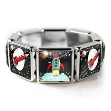 Retro Spaceship Toy Rocket Ship Sci-fi Fantasy Silver Bangle Charm Bracelet