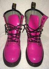 Doc Dr Martens Hot Pink Boots Us 9 UK 7 Airwair 8 Eyelet Docs Shoes Leather