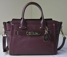 Coach 34816 Burgundy Pebble Leather Swagger 27 Satchel Carryall