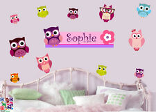 Personalised Owls - Pack of 12 - Wall Art Stickers Birds Flower Floral Love Cute
