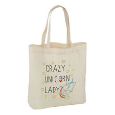 CRAZY UNICORN LADY TOTE SHOULDER BAG - Animal Rainbow Magical Funny Quote