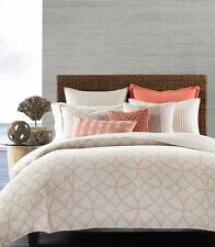 NEW Hotel Collection Textured Lattice Linen Queen Duvet Cover $330 Poppy Coral
