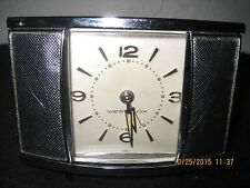 Vintage running WESTCLOX Chrome Sliding Door Table Top Wind up Alarm Clock