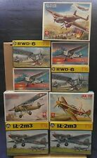 Lot of nine aircraft, ZTS 1/72 Model Kit