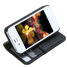 Wallet Case Flip Leather Stand Cover w/ Card Holder for iPhone 4/4s Black US