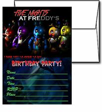 12 Five Night at Freddy's Birthday Invitation Cards (12 White Envelops Included)