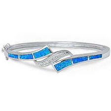 Blue Opal & Cubic Zirconia .925 Sterling Silver Bangle Bracelet