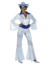 70s Disco Diva señoras Dancing Queen Fancy Dress Costume Super Pop Star UK 8 - 12