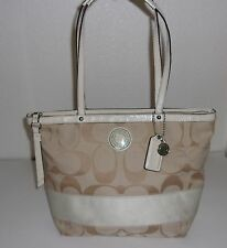 "Coach Khaki Beige ""C"" Print w/ Stripe & Patent Leather Purse Handbag Bag F19046"