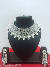 Indian Ethnic Rhodium Plated Bollywood Fashion Bridal Jewelry Necklace Set