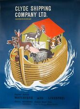 Original shipping poster Clyde Shipping Waterford Ireland to Liverpool 1960