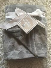 Baby Thro Baby Blanket Unisex Boy Girl Gray Dot So Soft!! NWT
