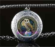 Wicca Owl Photo Cabochon Glass Tibet Silver Chain Locket Pendant Necklace#C35