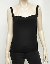 Nwt $520 VALENTINO Italy Cotton Blend Knit Tank Top Cami Singlet ~Black *S