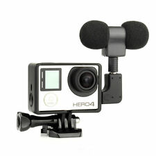 External Microphone Mic + Standard Frame Kit Fit + Adapter For GoPro Hero 4 3+ 3