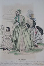 GRAVURE COULEURS LA MODE-OLD FASHION PRINT XIXe SIECLE COSTUME MD15