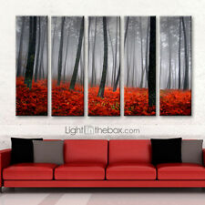 NOT FRAMED Canvas Print Red forest Tree landscape picture home decor wall art