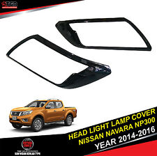 METALLIC Black Head Light Lamp Cover 4 DOORS FOR NISSAN NAVARA NP300 2014-2016