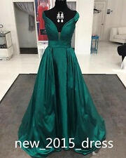 Hunter Green Off Shoulder Pageant Prom Formal Dresses Celebrity Evening Gowns