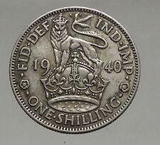 1940 United Kingdom Great Britain GEORGE VI Silver Shilling Coin LION i56896