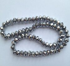 New Silver 70pcs Faceted Crystal Gemstone C4 Loose Beads 6x8mm